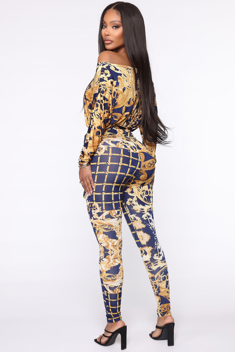 Jewels And Jets Jumpsuit - Navy/combo