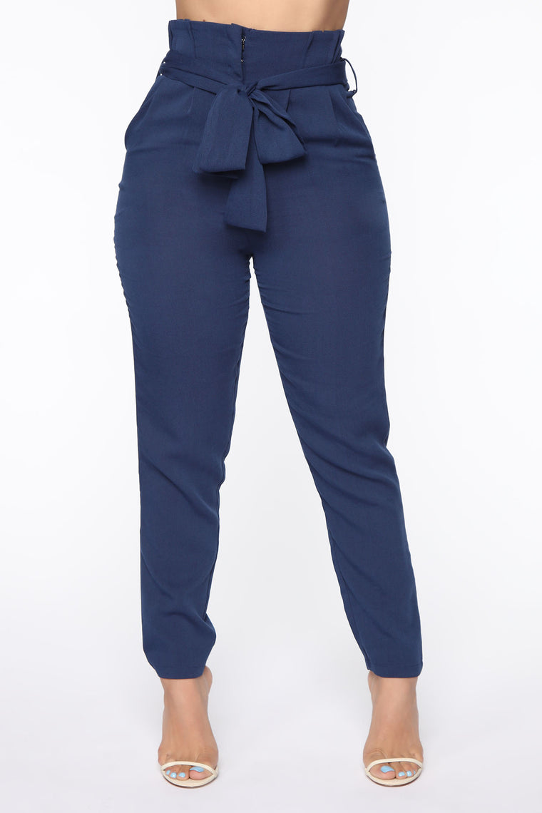 Can't Pretend Paperbag Pant Set - Navy