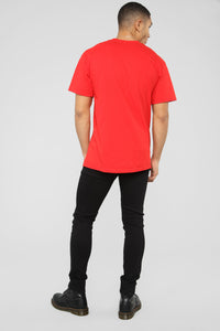 PJ Thoughts Short Sleeve Tee - Red/Combo Angle 7