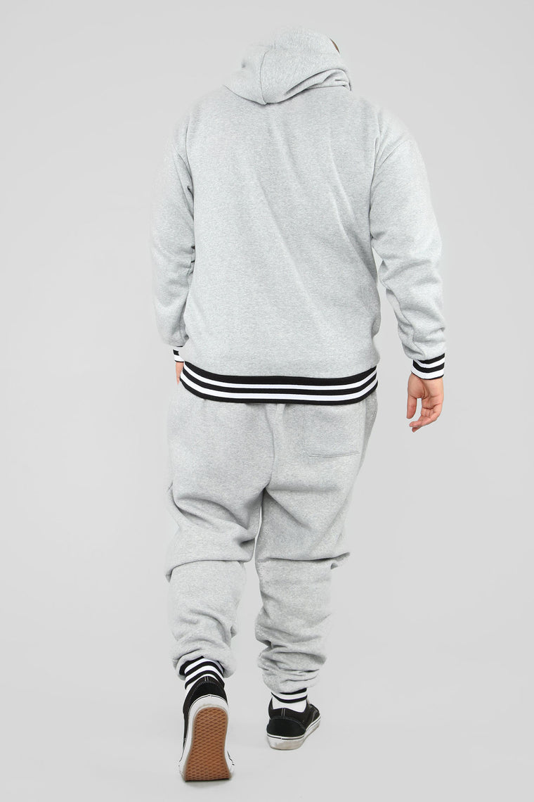 Striped Hem Hoodie - Heather Grey