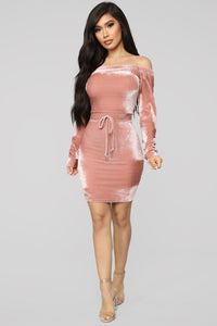 Looking For Love Velvet Mini Dress - Mauve