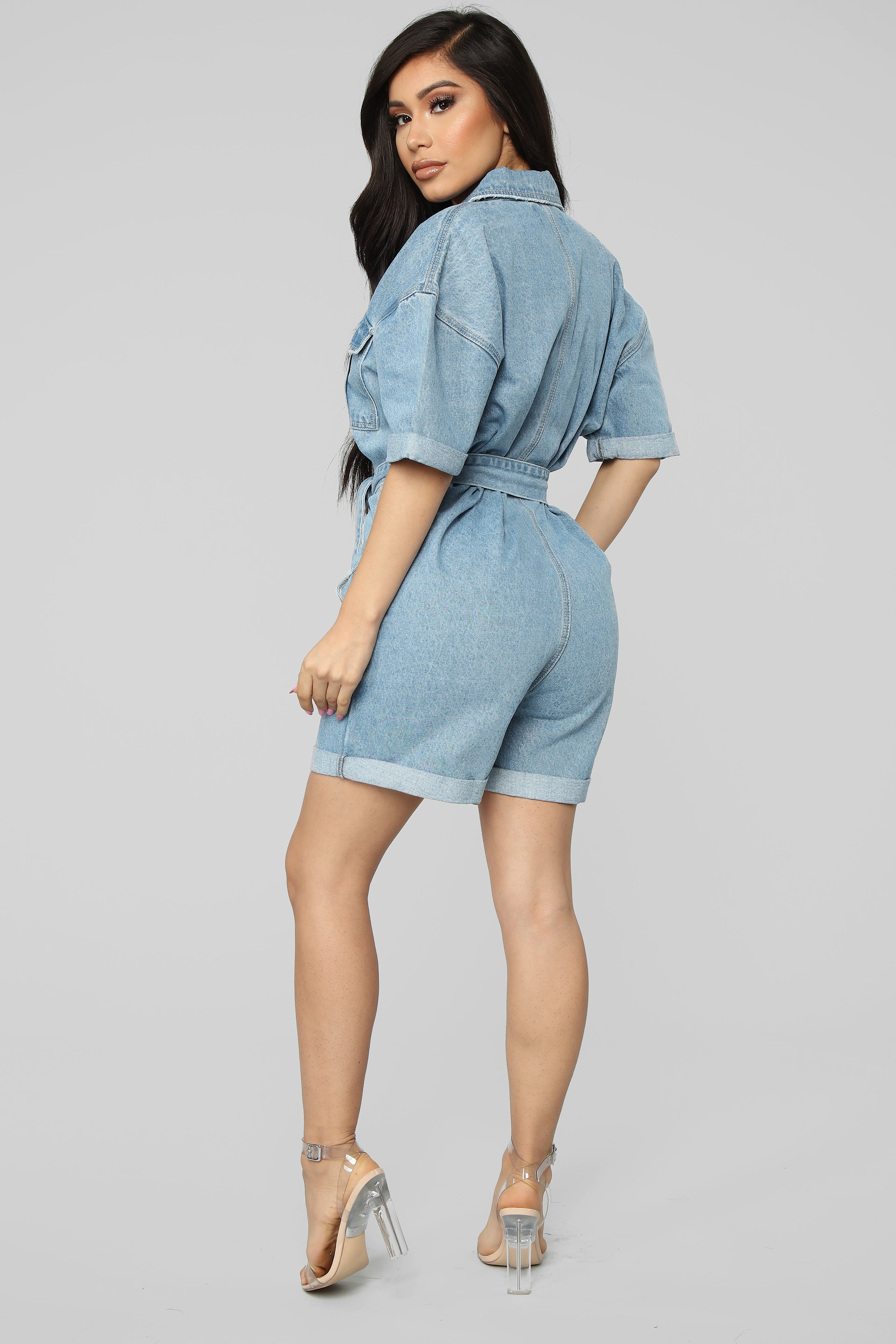 b05a313bf0f86 The Whole Package Denim Romper - Light Wash