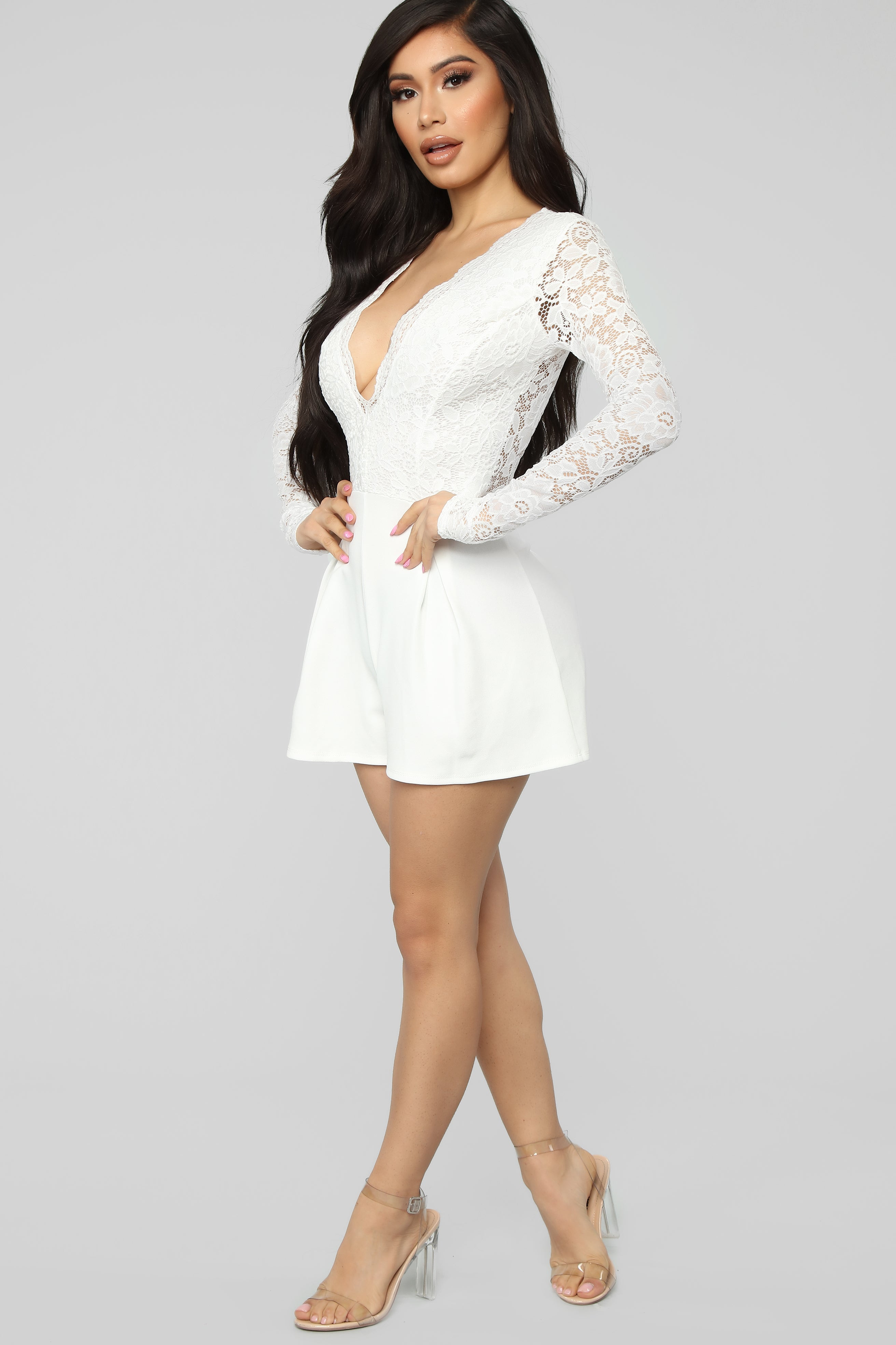 15543e8343e9 All Good Things Lace Romper - White