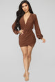 Arlo Ruched Mini Dress - Brown