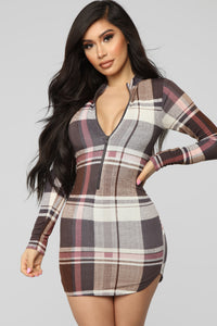 Give It To Me Plaid Dress - Pink Plaid