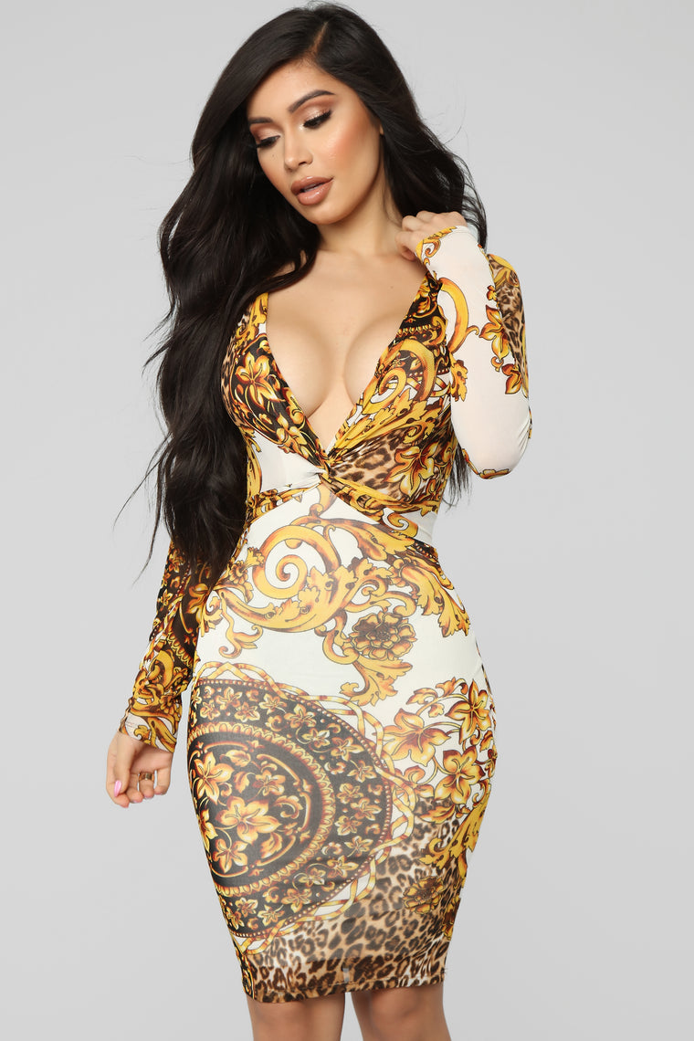 Royal Pain Mesh Dress - White/Combo