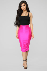 Curves For Days Ruched Skirt - Hot Pink