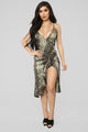 For The Rest Of Our Days Snake Midi Dress - Olive/Combo