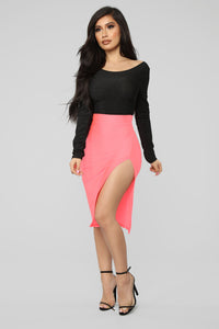 Curves For Days Slit Midi Skirt - Salmon Angle 1