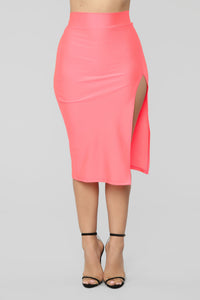 Curves For Days Slit Midi Skirt - Salmon Angle 2