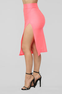 Curves For Days Slit Midi Skirt - Salmon Angle 4