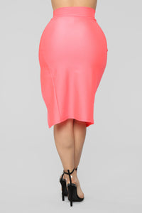 Curves For Days Slit Midi Skirt - Salmon Angle 6