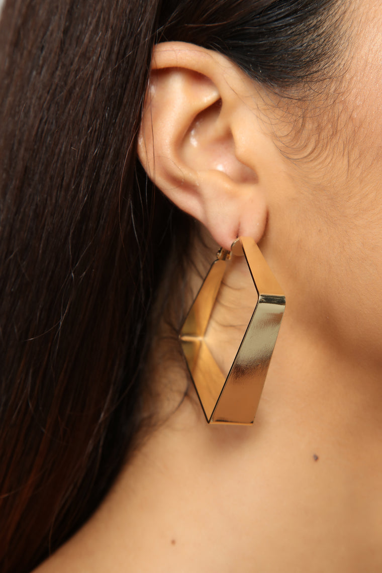 Square Up Then Hoop Earrings - Gold