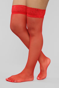 Bulletproof Sheer Thigh Highs - Red