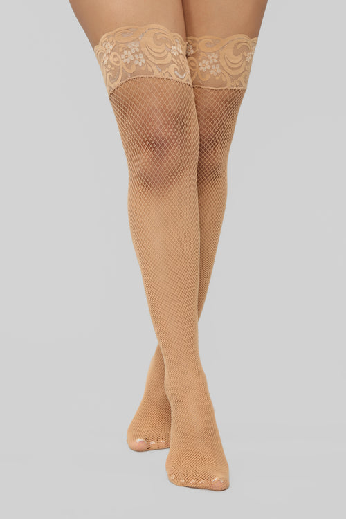 Keep It Simple Lace Thigh Highs - Nude