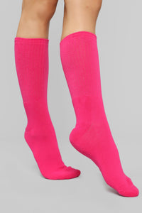 Don't Mess With My Crew Socks - Neon Pink