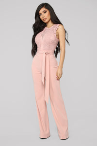 Breathtaking Lace Jumpsuit - Blush Angle 1