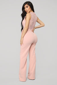 Breathtaking Lace Jumpsuit - Blush Angle 4