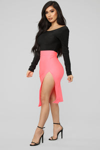 Curves For Days Slit Midi Skirt - Salmon Angle 3