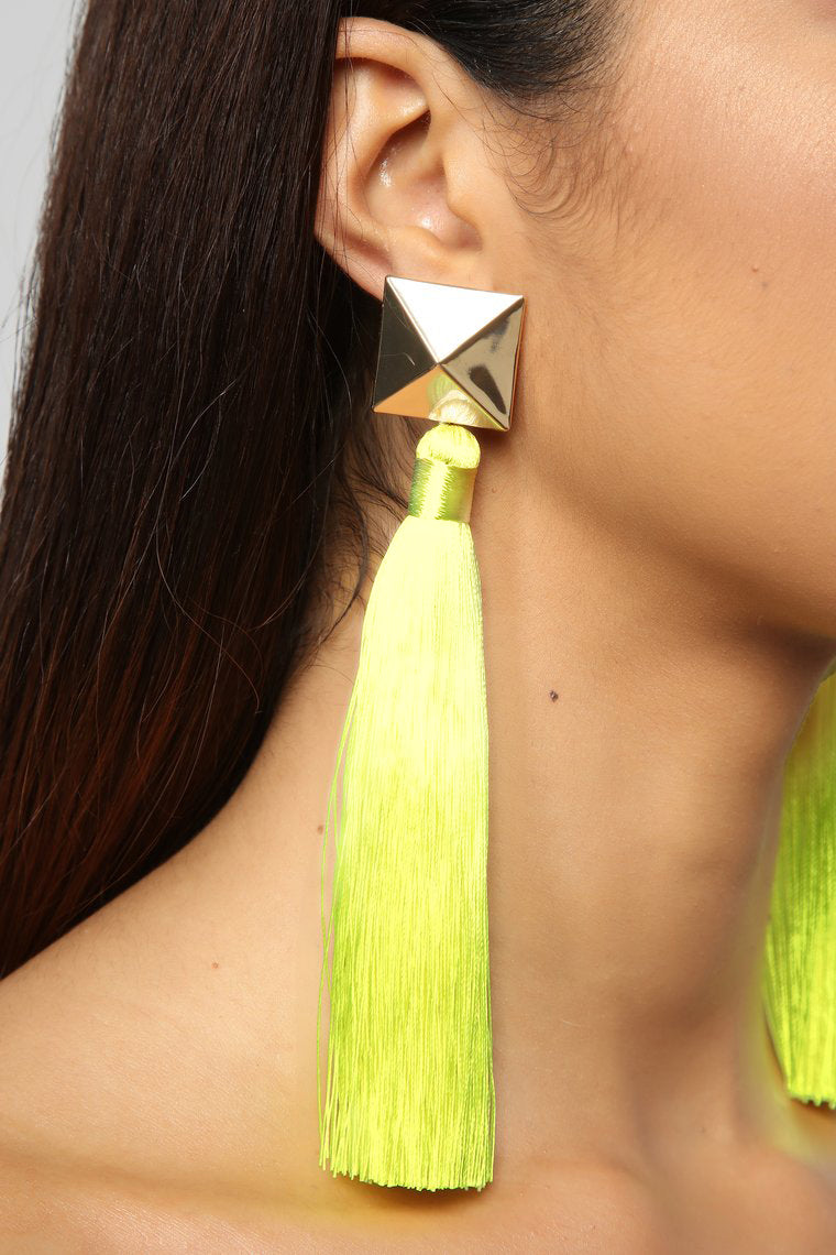 All Tassle No Hassle Earrings - Yellow