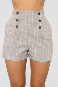 Catch You Later Striped Shorts - Tan/White