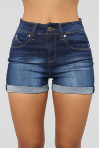 Closing Time High Rise Shorts - Dark Denim