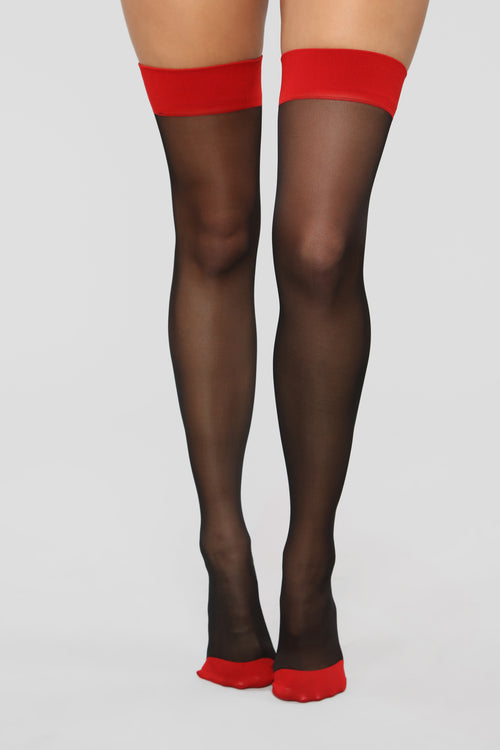 Watch What You Say Thigh Highs - Black/Red