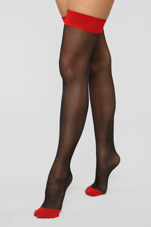 ddfe695f7f676 Watch What You Say Thigh Highs - Black/Red