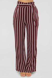 Do Yourself A Favor Tie Waist Pant - Burgundy/White