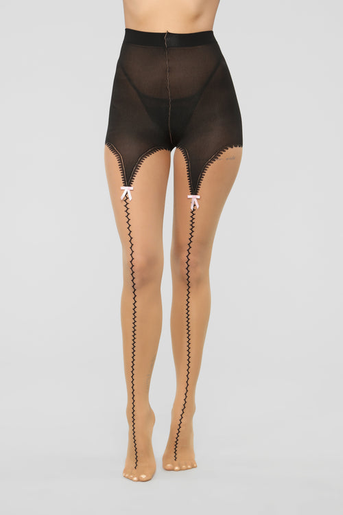 All The Way Up Tights - Black/Nude