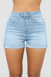 Closing Time High Rise Shorts - Light Blue Wash Angle 1