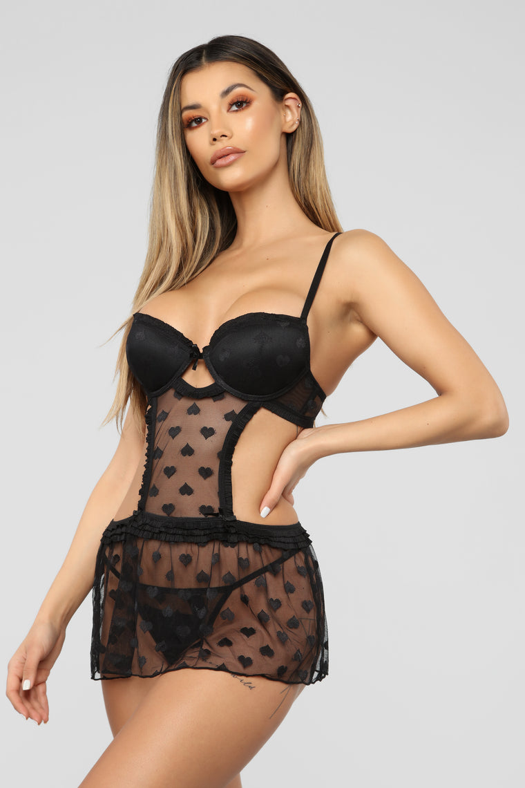 Love Lines Mesh Baby Doll - Black