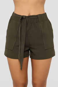 Out For The Day Linen Shorts - Olive Angle 1
