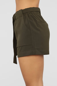 Out For The Day Linen Shorts - Olive Angle 3