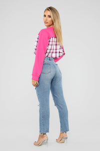 Never Plaid Out Sweatshirt - Pink/Combo