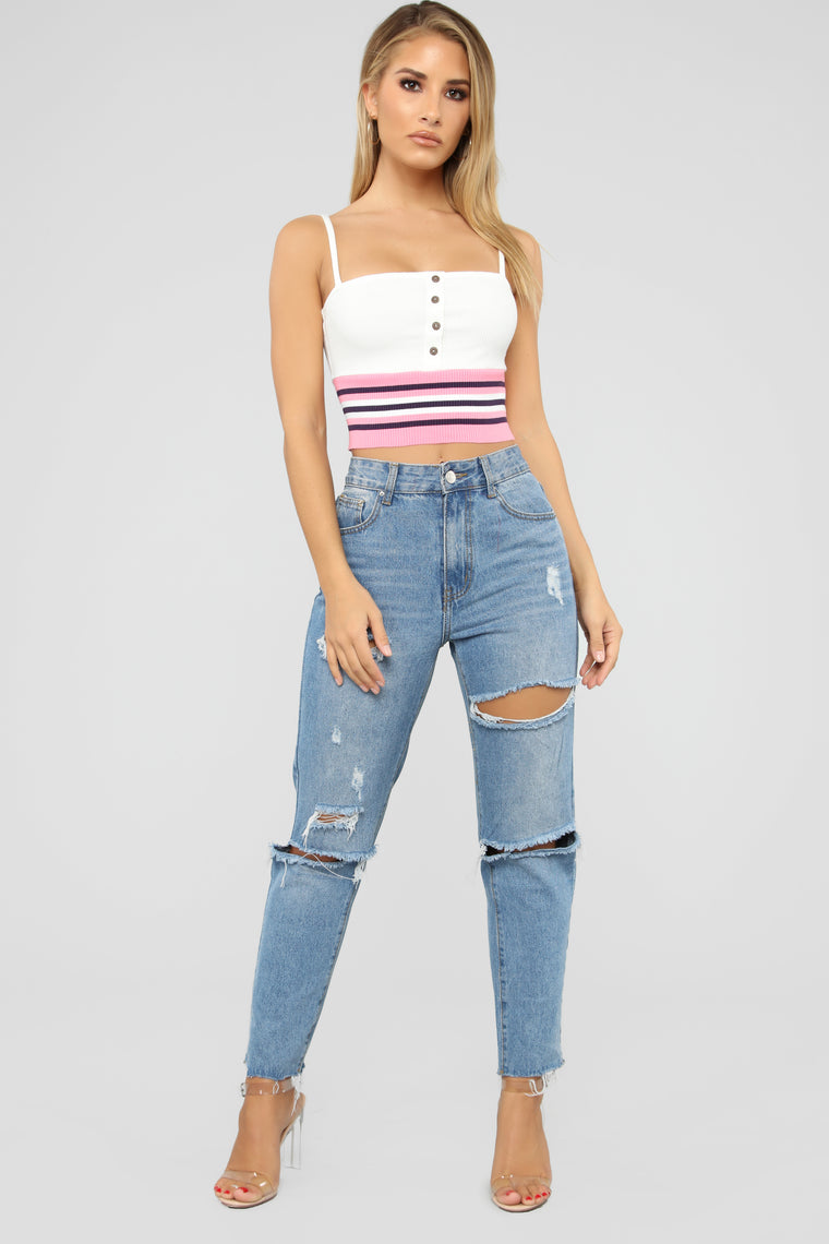 Bella Ribbed Button Top - Pink/Combo