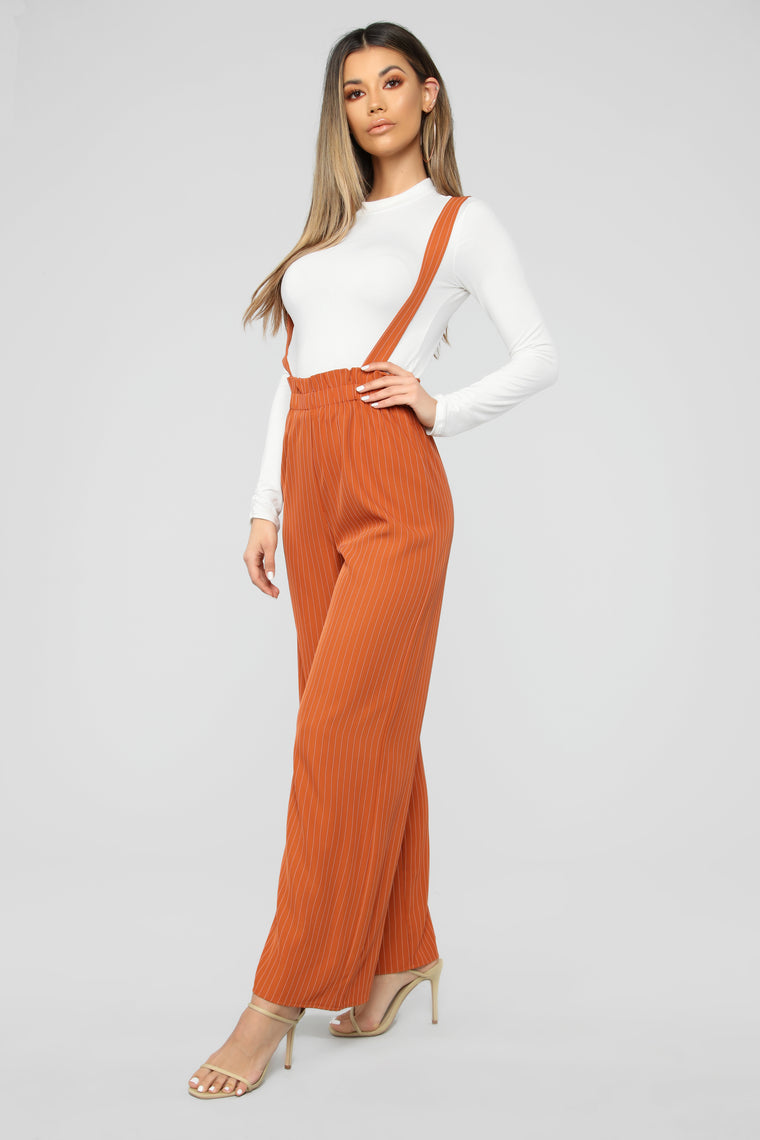 Keep It Together Suspender Pants - Rust