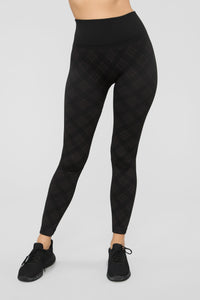 See You Later Plaid Leggings - Black/Brown