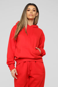 Stole Your Boyfriend's Oversized Hoodie - Red