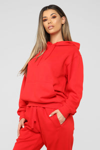 Stole Your Boyfriend's Oversized Hoodie - Red Angle 3