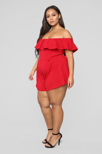 In My Feelings Romper-Red