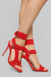 Not Giving Up Heeled Sandals - Red