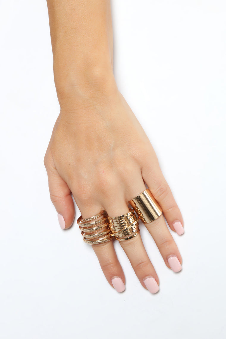 Spiraling Ring Set - Gold