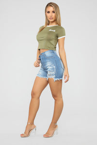Short On Time Denim Shorts - Medium Wash