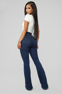 Don't Push Me Flare Jeans - Dark Denim Angle 5