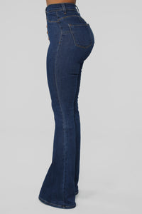 Don't Push Me Flare Jeans - Dark Denim Angle 4