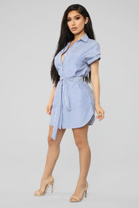 Full Of Soul Stripe Shirt Dress - Blue