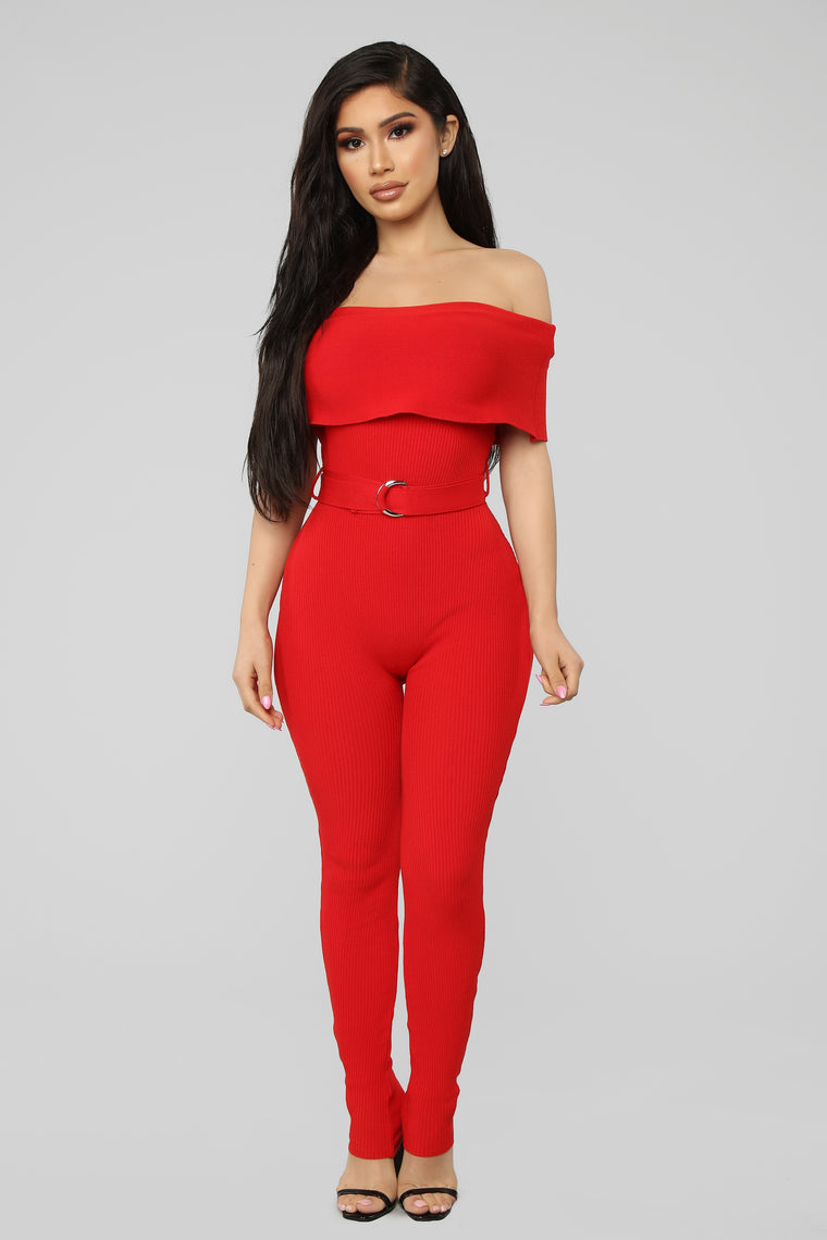 I Believe You Ribbed Jumpsuit - Red