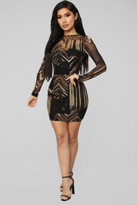 Slayin' Mesh Mini Dress - Brown/Combo
