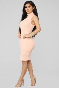 Window Shopper Sweater Dress - Peach